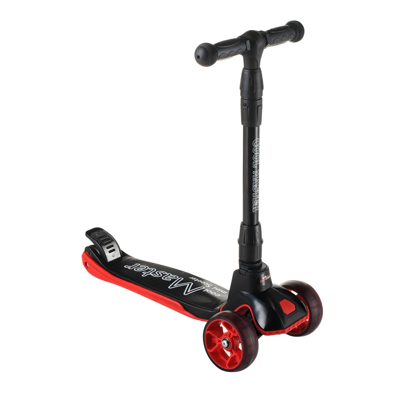 Самокат со светящимися PU колесами четырехколесный Scooter для детей от 3 лет со складным рулем