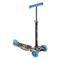 Scooter зі світними колесами чотириколісний самокат для дітей від 3 років зі складним кермом
