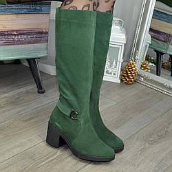 Сапоги замшевые женские на каблуке, цвет зеленый