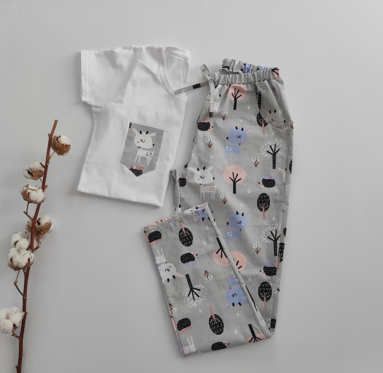 Домашний костюм-пижама хлопковая с оленями, футболка и штаны