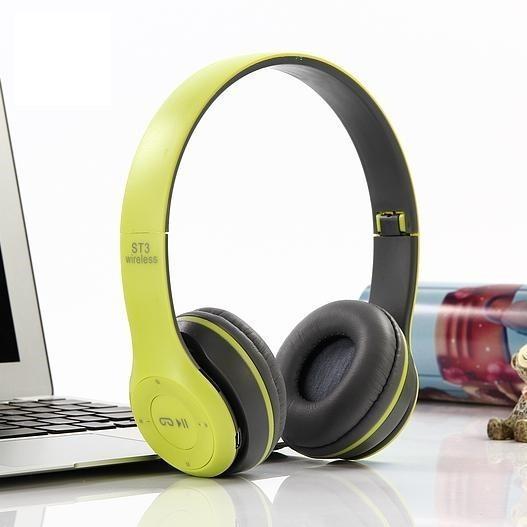 Беспроводные наушники Wireless P-47  Bluetooth MicroSD FM Радио  Желтый