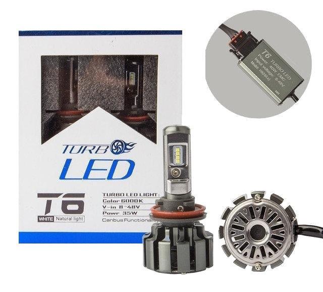 Світлодіодні автолампи Turbo T6 Led H7 6000K 8000Lm з кулером, Автомобільні світлодіодні лампи для фар