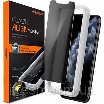 Защитное стекло Spigen для iPhone 11 Pro Max/ XS Max (1шт) - (Антишпион) Privacy (AGL00095)