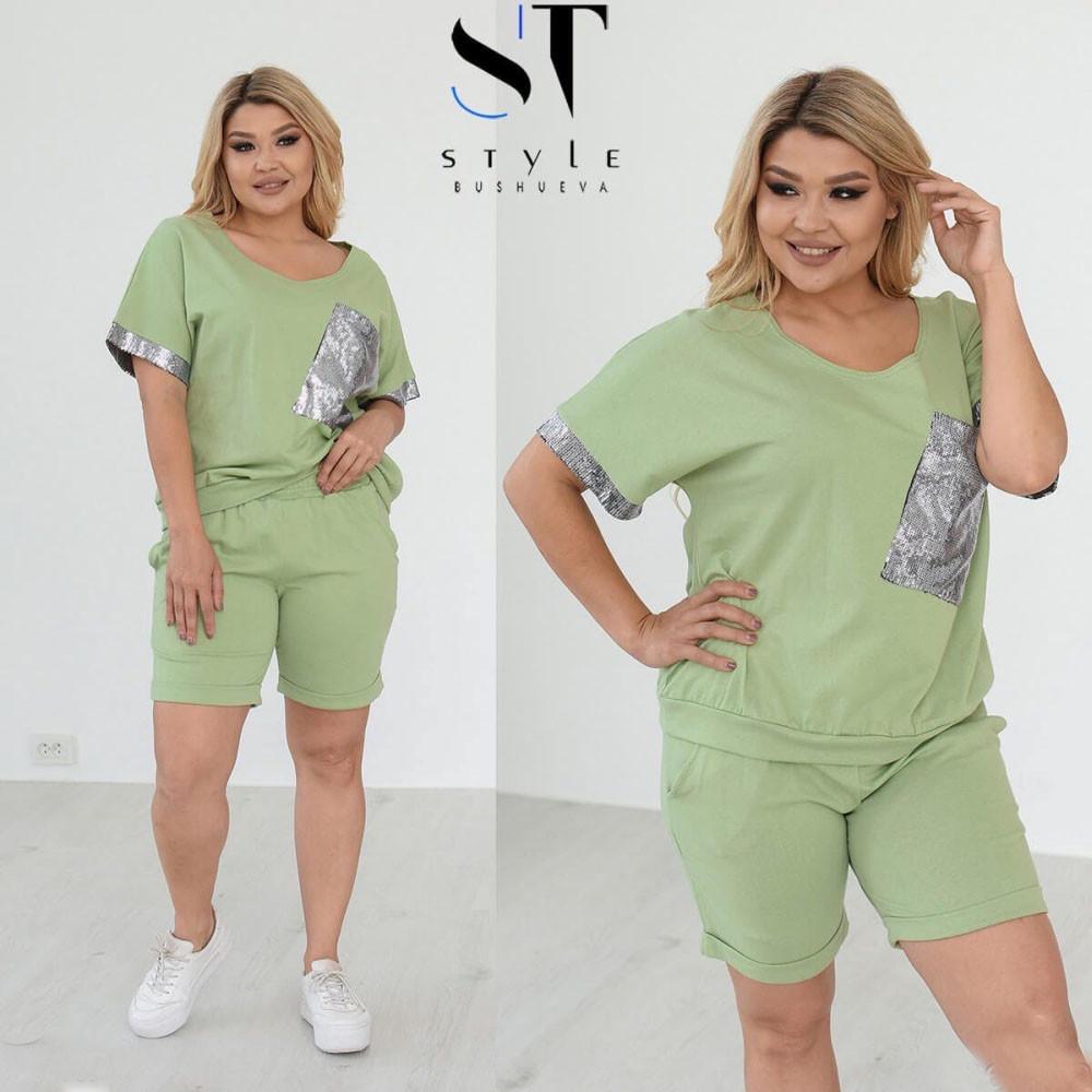 Жіночий костюм шорти і футболка оливкового кольору SKL11-305758