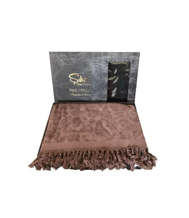 Махровая простынь - Пике Sikel жаккард Lilyum (Penye) 200*220 см сливовый