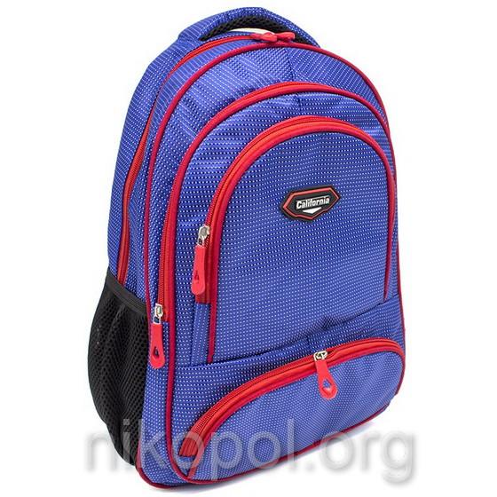 """Рюкзак шкільний California """"M"""" Синій з червоним, 42х29х15см."""