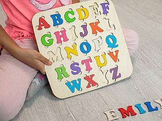 Детская деревянная игрушка. Алфавит англ. цветной. Эко продукт. 25х25см
