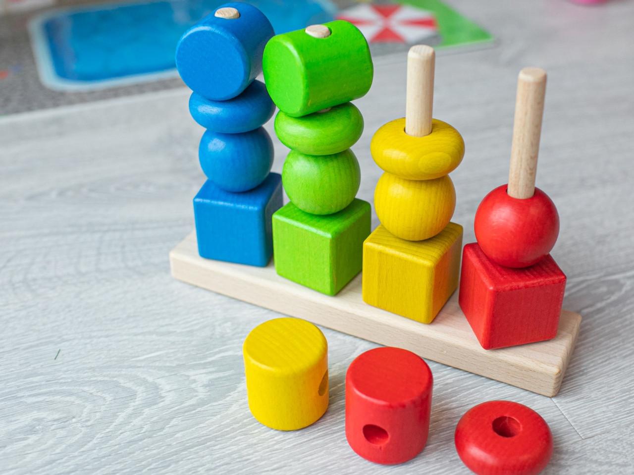 Детская деревянная игрушка. Сортер цветной разные фигуры. Эко продукт. 23х16см