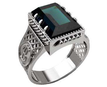 Кольцо мужское серебряное Доллар 30303