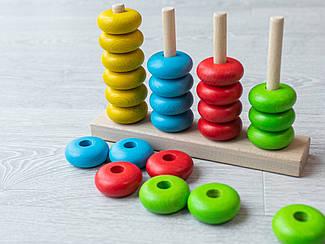 Детская деревянная игрушка. Сортер блины цветные. Эко продукт. 22х14см