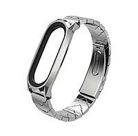Ремешок для фитнес трекера Mi Band 6 металлический серебряный качественный браслет фирмы MiJobs
