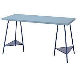 IKEA LAGKAPTEN / TILLSLAG Письменный стол, светло-голубой/темно-синий 140x60 см