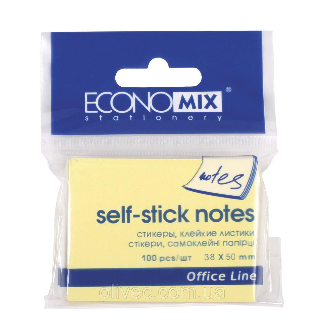"""Бумага для заметок """"EconoMix"""" с клейким слоем. 38х50 мм, 100 листов."""