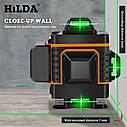 БЕСПЛАТНАЯ ДОСТАВКА ! 4D Лазерный уровень Hilda 4D 16 линий для стяжки пола, плитки ➜ ПУЛЬТ ➜ Кронштейн, фото 5