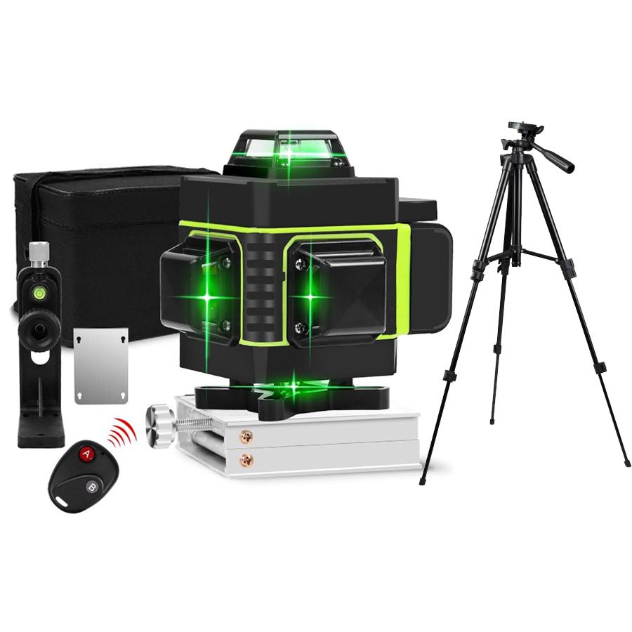 БЕЗКОШТОВНА ДОСТАВКА ! Лазерний рівень Hilda 4D 16 ліній з дисплеєм заряду ➜ ПУЛЬТ + ШТАТИВ