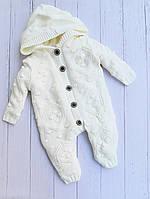 Комбинезон утеплённый вязанный для малышей оптом 6-9-12 месяцев