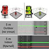 Лазерный уровень CLUBIONA ZKLL05RC 5 линий 6 точек - ЗЕЛЕНЫЕ линии - самовыравнивающийся нивелир, фото 5