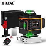 БЕСПЛАТНАЯ ДОСТАВКА ! 4D Лазерный уровень Hilda 4D 16 линий для стяжки пола, плитки ➜ ПУЛЬТ ➜ Кронштейн, фото 2