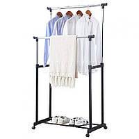 Double pole - Телескопическая двойная напольная стойка вешалка для одежды, 130 см (передвижная, прочная)