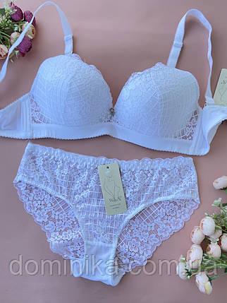 90D Комплект женского нижнего белья, белый бюстгальтер, кружевные трусики слипы, фото 2
