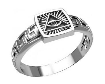Кольцо мужское серебряное Всевидящее Око 30306