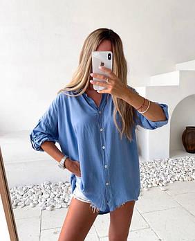 Стильная женская хлопковая рубашка свободного кроя в расцветках (Норма)