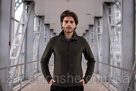 Кофта чоловіча на флісі хакі тепла зимова куртки на блискавці SKL59-259555