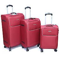 """Набір тканинних валіз Madisson, (29 """"/ 24"""" / 28 """") на 4-х колесах, бордовий, фото 1"""