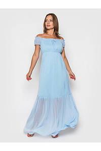 Длинное шифоновое летнее платье с воланом с 42 по 50 размер