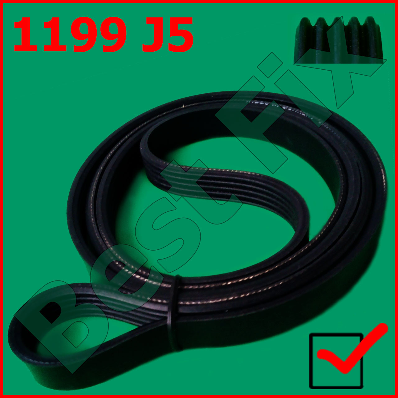 Ремень 1199 J5 PJE Hutchnson черный