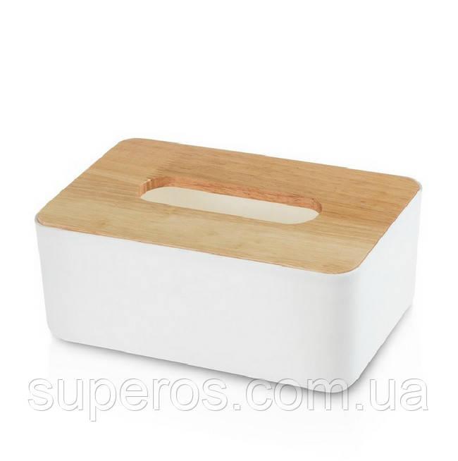 Диспенсер для серветок серія Wood білий (22013)