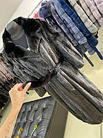 Шикарна фірмова 2XL норкова жіноча шуба чорного кольору