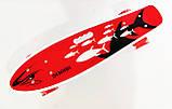 Пенни борд с ручкой и светящимися колесами Best Board Дым Penny Board Красный рыбы, фото 2