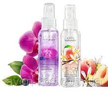 """Лосьон- спрей для тіла. Комплект: """"Орхідея і голубіка», «Білий персик і ванільна орхідея» Avon Naturals"""