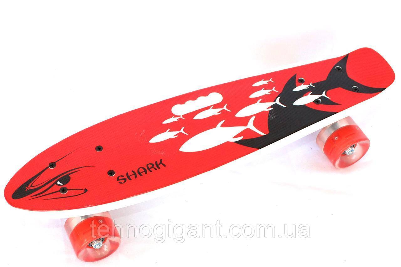 Пенни борд с ручкой и светящимися колесами Best Board Дым Penny Board Красный рыбы