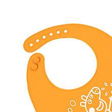"""Lb Детский нагрудник-слюнявчик CUMENSS """"Мультяшки"""" Orange силиконовый с карманом для малышей"""