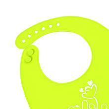 """Lb Детский нагрудник-слюнявчик CUMENSS """"Мультяшки"""" Light Green силиконовый с карманом для малышей кормления"""