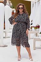 Элегантное женское шифоновое платье большого размера.Размеры:48/62+Цвета, фото 1
