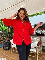 Блуза-рубашка женская эффектная красная легкая с четвертным рукавом больших размеров 48-60 арт. а415230