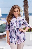 Рубашка женская тонкая легкая удлиненная больших размеров батал 52-64 арт. 232