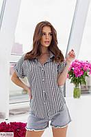 Котоновая рубашка женская летняя легкая с коротким рукавом большие размеры р-ры 50-56 арт.  0254