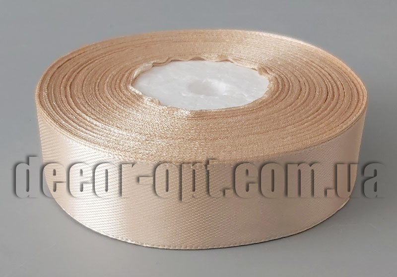 Лента атласная оттенок кофейного 2,50 см 36ярд арт.71