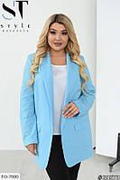 Удлиненный женский пиджак классический свободного кроя большие размеры батал 48-58 арт.  7114/1