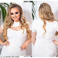 Блуза женская приталенная с коротким рукавом с разрезом на декольте большие размеры 48-58 арт. 787