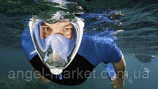 Повна Маска для Пірнання, Снорклінга і Підводного Плавання (Блакитна)