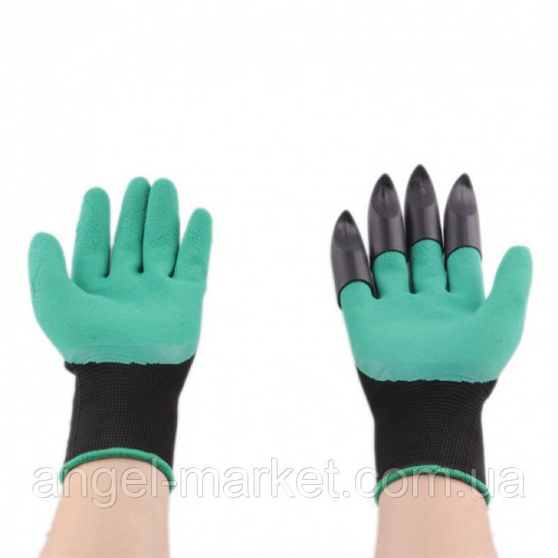 Садовые перчатки резиновые с пластиковыми наконечниками когтями для сада Garden Genie Gloves