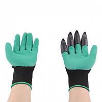 Садовые перчатки резиновые с пластиковыми наконечниками когтями для сада Garden Genie Gloves, фото 1