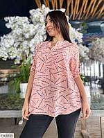 Модная легкая женская блуза на лето свободная с коротким рукавом больших размеров 50-60 арт. с41486