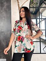 Красивая летняя блуза с четвертным рукавом и цветочным принтом больших размеров 50-60 арт.  с41486.2