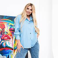Удлиненная стильная женская рубашка с рукавом трансформером больших размеров 48-66 арт. 3418